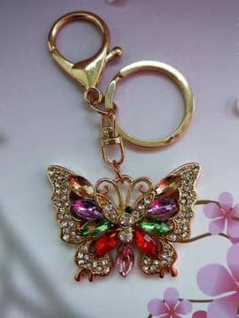 Модний брелок метелик в стразах золото. Зображення товару, вид 1