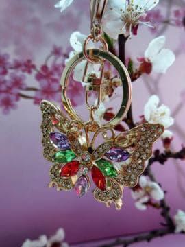 Модний брелок метелик в стразах золото. Зображення товару, вид 2