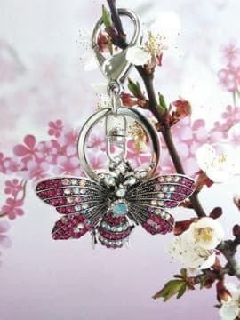 Модний брелок метелик нікель в стразах рожевий. Зображення товару, вид 2