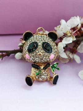 Модний брелок панда в стразах золото. Зображення товару, вид 1