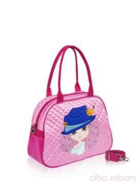 Стильная детская сумочка с вышивкой, модель 0323 розовый. Изображение товара, вид сбоку.