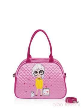 Стильная детская сумочка с вышивкой, модель 0324 розовый. Изображение товара, вид спереди.