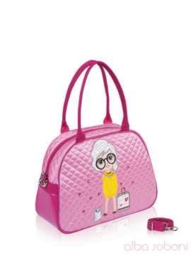 Стильная детская сумочка с вышивкой, модель 0324 розовый. Изображение товара, вид сбоку.
