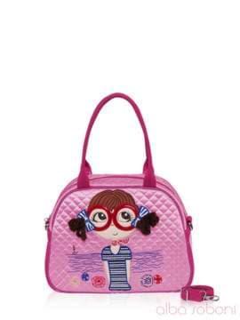 Стильная детская сумочка с вышивкой, модель 0325 розовый. Изображение товара, вид спереди.