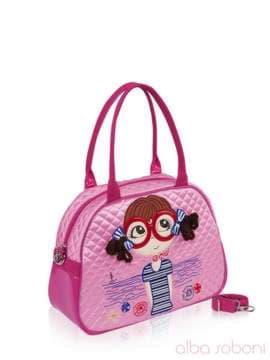 Стильная детская сумочка с вышивкой, модель 0325 розовый. Изображение товара, вид сбоку.
