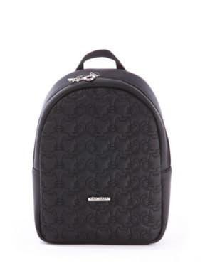 Стильный детский рюкзак с вышивкой, модель 0610 черный. Изображение товара, вид спереди.