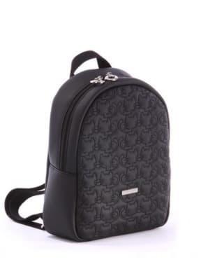 Стильный детский рюкзак с вышивкой, модель 0610 черный. Изображение товара, вид сбоку.