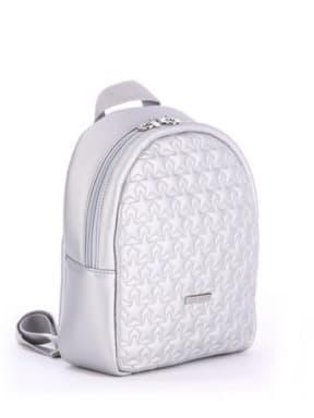 Стильный детский рюкзак с вышивкой, модель 0615 серебро. Изображение товара, вид сбоку.