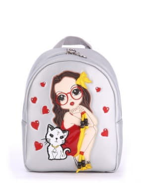 Стильный детский рюкзак с вышивкой, модель 0617 серебро. Изображение товара, вид спереди.