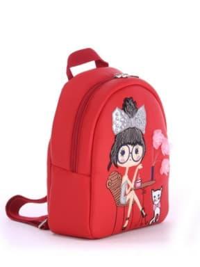 Стильный детский рюкзак с вышивкой, модель 0618 красный. Изображение товара, вид сбоку.