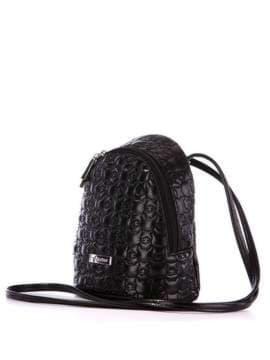 Модний рюкзачок з вышивкою, модель 1801 чорний. Зображення товару, вид збоку.