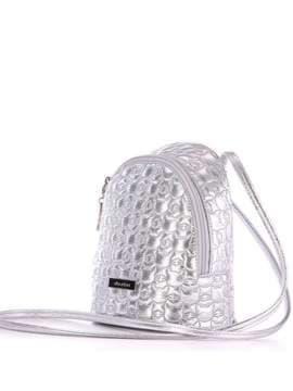 Жіночий рюкзачок з вышивкою, модель 1802 срібло. Зображення товару, вид збоку.