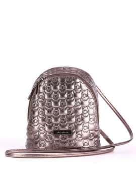Жіночий рюкзачок з вышивкою, модель 1804 бронза. Зображення товару, вид спереду.