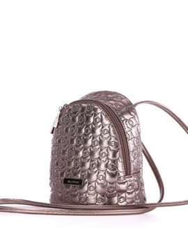 Жіночий рюкзачок з вышивкою, модель 1804 бронза. Зображення товару, вид збоку.