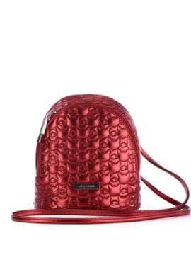 Жіночий рюкзачок з вышивкою, модель 1805 бордо. Зображення товару, вид спереду.