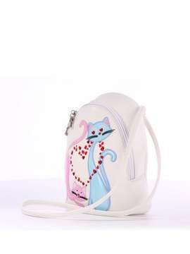 Стильный детский рюкзак с вышивкой, модель 1844 белый. Изображение товара, вид сбоку.