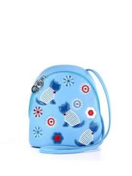 Стильный детский рюкзак с вышивкой, модель 1845 голубой. Изображение товара, вид спереди.