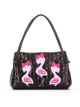 Стильная детская сумочка с вышивкой, модель 1811 черный. Изображение товара, вид спереди.