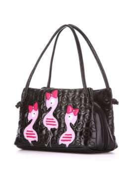 Стильная детская сумочка с вышивкой, модель 1811 черный. Изображение товара, вид сбоку.