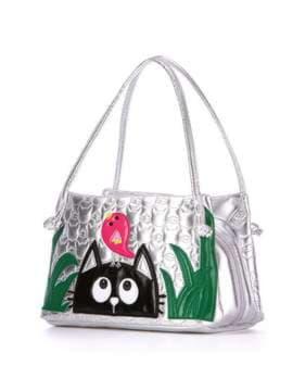 Стильна дитяча сумочка з вышивкою, модель 1812 срібло. Зображення товару, вид збоку.