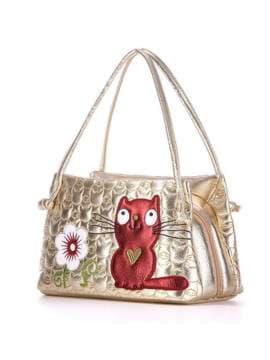 Стильная детская сумочка с вышивкой, модель 1813 золото. Изображение товара, вид сбоку.