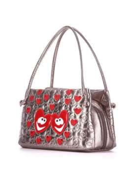 Стильная детская сумочка с вышивкой, модель 1814 бронза. Изображение товара, вид сбоку.