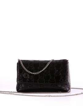 Стильная детская сумочка с вышивкой, модель 1821 черный. Изображение товара, вид спереди.