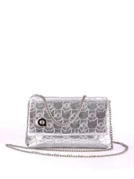 Стильна дитяча сумочка з вышивкою, модель 1822 срібло. Зображення товару, вид спереду.