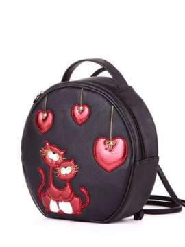 Брендовая сумка-рюкзачок с вышивкой, модель 1862 черный. Изображение товара, вид сбоку.