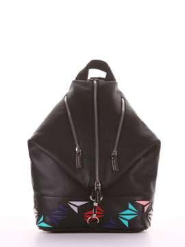 Женский рюкзак с вышивкой, модель 181401 черный. Изображение товара, вид сбоку.