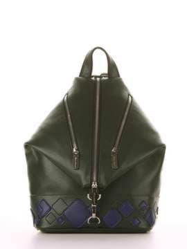 Брендовый рюкзак с вышивкой, модель 181403 темно-зеленый. Изображение товара, вид сбоку.