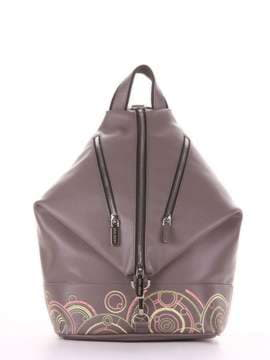 Школьный рюкзак с вышивкой, модель 181404 темно-серый. Изображение товара, вид сбоку.