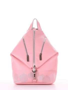 Модный рюкзак с вышивкой, модель 181405 пудрово-розовый. Изображение товара, вид сбоку.