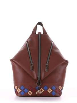 Брендовый рюкзак с вышивкой, модель 181407 коричневый. Изображение товара, вид сбоку.