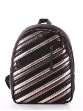Стильний рюкзак з вышивкою, модель 181461 чорний. Зображення товару, вид збоку.