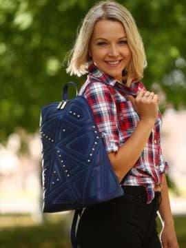Стильный рюкзак с вышивкой, модель 181502 синий. Изображение товара, вид спереди.
