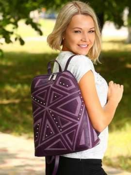 Модный рюкзак с вышивкой, модель 181503 баклажан. Изображение товара, вид спереди.