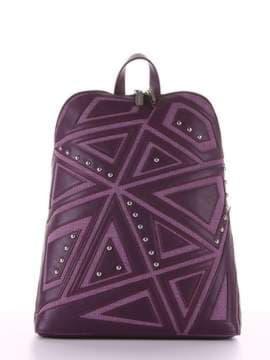 Модный рюкзак с вышивкой, модель 181503 баклажан. Изображение товара, вид сбоку.