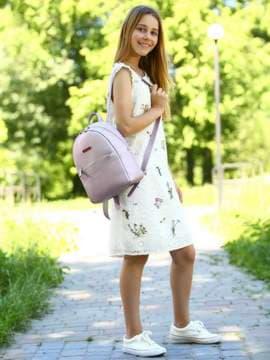 Школьный рюкзак, модель 181526 розовый перламутр. Изображение товара, вид спереди.