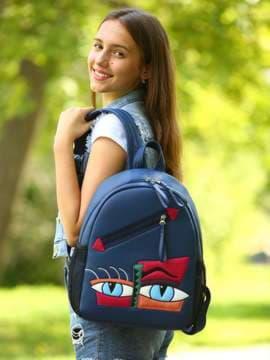 Школьный рюкзак с вышивкой, модель 181541 синий. Изображение товара, вид спереди.