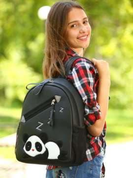 Школьный рюкзак с вышивкой, модель 181543 черный. Изображение товара, вид спереди.