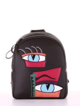 Модный рюкзак с вышивкой, модель 181551 черный. Изображение товара, вид сбоку.