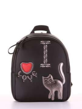 Школьный рюкзак с вышивкой, модель 181552 черный. Изображение товара, вид сбоку.