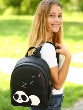 Школьный рюкзак с вышивкой, модель 181553 черный. Изображение товара, вид спереди.