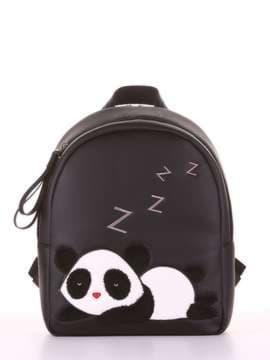 Школьный рюкзак с вышивкой, модель 181553 черный. Изображение товара, вид сбоку.