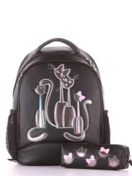 Стильний рюкзак з вышивкою, модель 181701 чорний. Зображення товару, вид збоку.