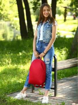 Брендовый рюкзак, модель e18124 красный. Изображение товара, вид спереди.
