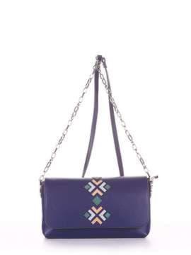 Модный клатч с вышивкой, модель 181422 синий. Изображение товара, вид сбоку.