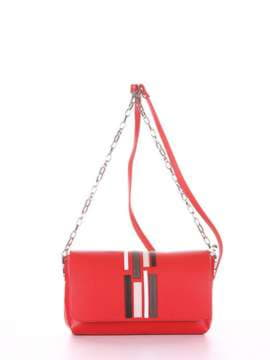 Брендовый клатч с вышивкой, модель 181426 красный. Изображение товара, вид сбоку.
