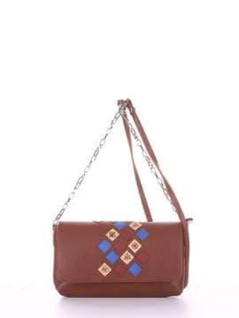 Брендовый клатч с вышивкой, модель 181427 коричневый. Изображение товара, вид сбоку.